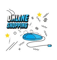 shopping online with mouse computer vector image