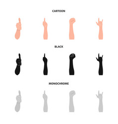 Sign language cartoonblackmonochrome icons in vector