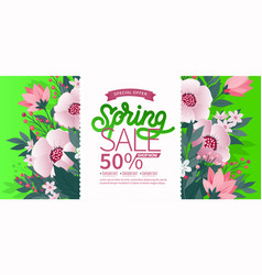 spring background with green leaves and flowers on vector image