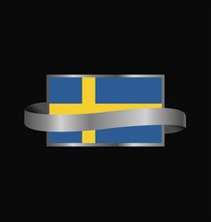 sweden flag ribbon banner design vector image