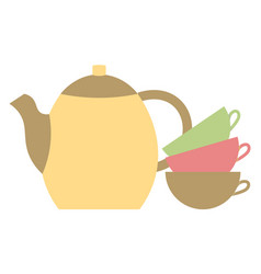 teapot and three cups kitchen stuff for drink tea vector image