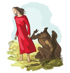 temptation christ in wilderness vector image