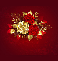 three jewelry roses vector image