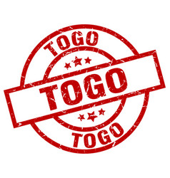 Togo red round grunge stamp vector
