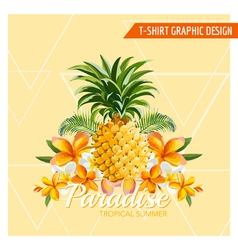 Tropical Flowers and Pineapple Graphic Design vector