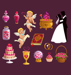 valentine day and wedding marriage love icons vector image