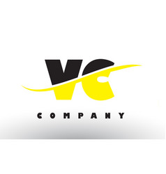 Vc v c black and yellow letter logo with swoosh vector