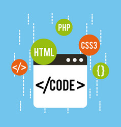 Web development code html css php vector