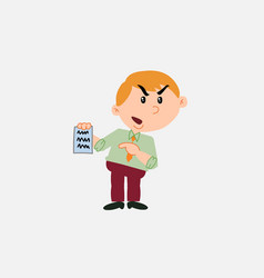 White businessman angry showing a document vector