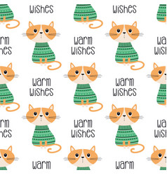 winter pattern with cat vector image