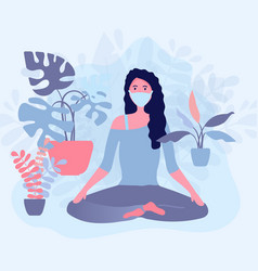 Woman in medical mask sitiing in a lotus pose near vector