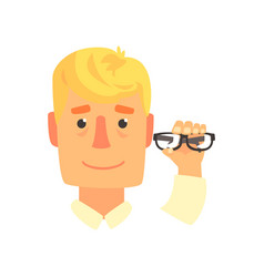Young man holding eyeglasses cartoon vector