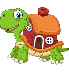 Cartoon funny turtle with shell house vector image