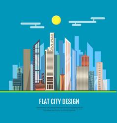 flat style modern design of urban city landscape vector image vector image