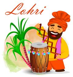 funny sikh man celebrating holiday vector image
