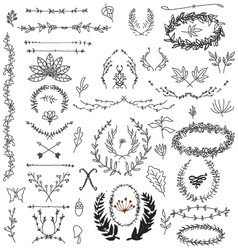 Hand drawn decorative floral vintage vector