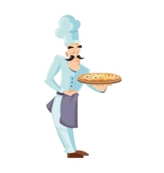 itallian cook holding tray vector image
