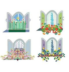 Windows with flowers box design set vector image