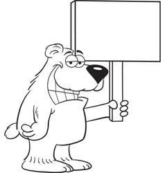 Cartoon Bear Holding a Sign vector image vector image