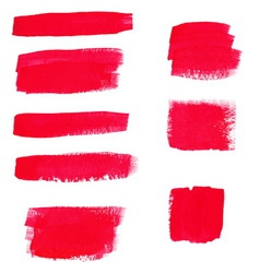 Hand-drawing red textures of brush strokes in vector image vector image