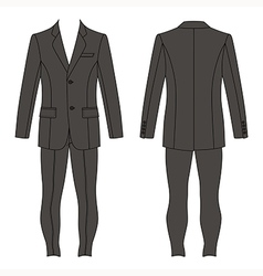 Mans suit jacket skinny jeans outlined template vector