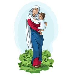 mother mary and child jesus vector image