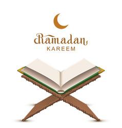 ramadan kareem text and open book koran vector image vector image
