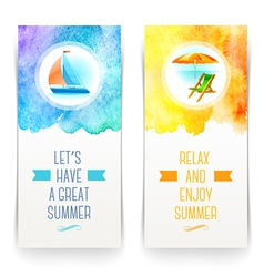 Summer holidays and travel banners with greetings vector image vector image