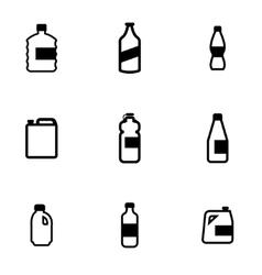 black bottles icon set vector image