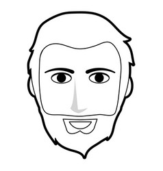 Black silhouette front face man with beard and vector