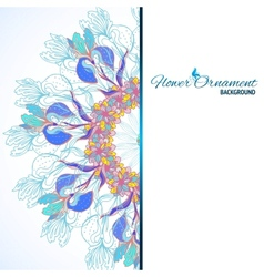 Blue floral ornament mandala background card vector image