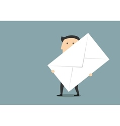 Businessman with big paper postal envelope vector image vector image
