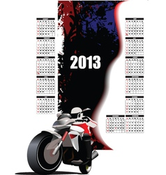 Childrens calendar with motorbike vector image vector image