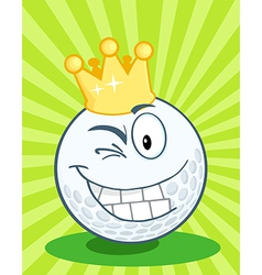 Golf Ball Character With Gold Crown Winking vector image vector image