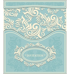 Invitation or Frame in Decorative floral backgroun vector image