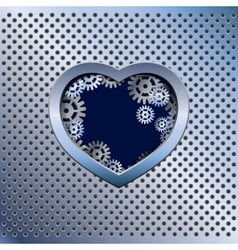 Metal light background with heart vector