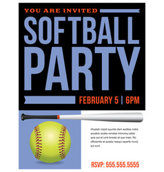 softball party flyer invitation vector image