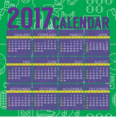 2017 Printable Calendar Tennis Graphic vector image vector image