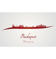 Budapest skyline in red vector image