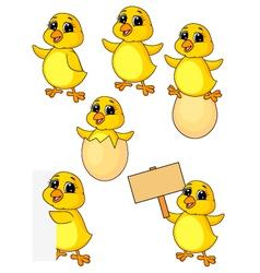 Cute baby chicken cartoon set vector image vector image
