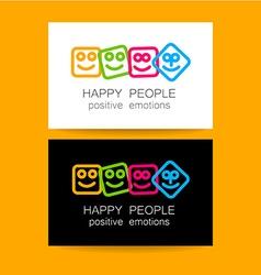 Happy people positive emotions vector