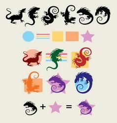Iguana Silhouette Symbols vector image vector image