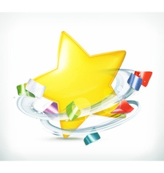 Party star and confetti icon vector image