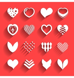 set hearts with shadow vector image