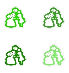 Set of paper stickers on white background Bride vector image vector image