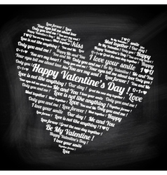 Valentines day text in the form of heart vector image