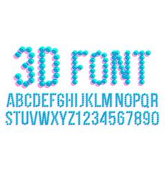 3d pixel font futuristic alphabet abc vector