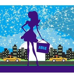 A of a woman shopping at night vector image