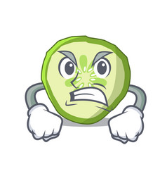 Angry mascot slice cucumber to cook vegetable vector