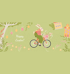 Banner with cute easter bunny on a bicycle vector